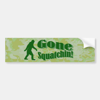 Gone Squatchin text on green camouflage Bumper Sticker