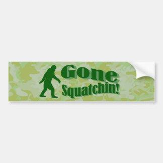 Gone Squatchin text on green camouflage Bumper Sticker