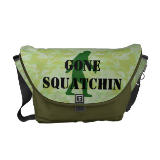 Gone Squatchin text on green camouflage Messenger Bag