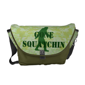 Gone Squatchin text on green camouflage Messenger Bags