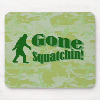 Gone Squatchin text on green camouflage Mouse Pad