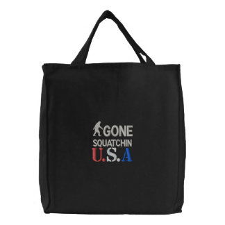 Gone Squatchin U.S.A Embroidered Tote Bag