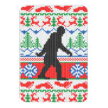 Gone Squatchin Ugly Christmas Sweater Knit Style 3.5x5 Paper Invitation Card