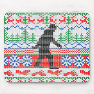 Gone Squatchin Ugly Christmas Sweater Knitting Mouse Pad