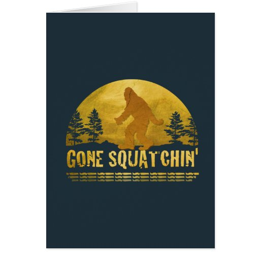 Gone Squatchin' (vintage sunset) Greeting Card
