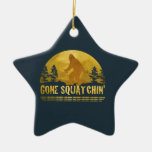 Gone Squatchin' (vintage sunset) Christmas Tree Ornaments