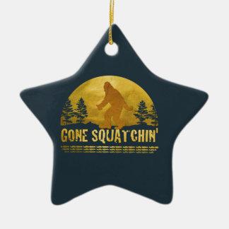 Gone Squatchin' (vintage sunset) Christmas Tree Ornaments