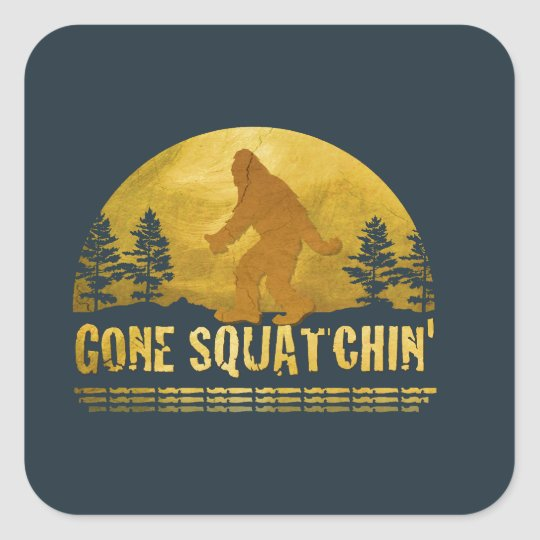 Gone Squatchin' (vintage sunset) Square Sticker