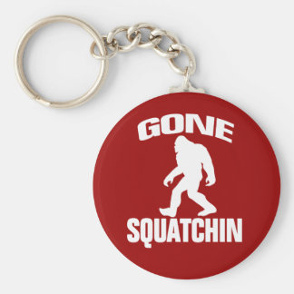 Gone Squatchin - White and Red Basic Round Button Keychain