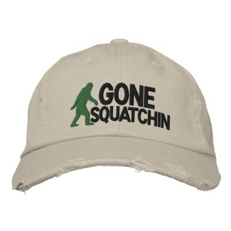 Gone Squatchin with bigfoot logo embroideredhat