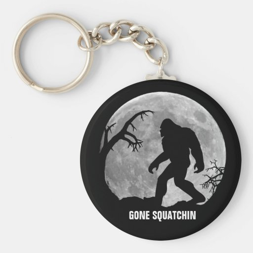 Gone Squatchin with moon and silhouette Basic Round Button Keychain