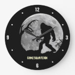 Gone Squatchin with moon and silhouette Large Clock