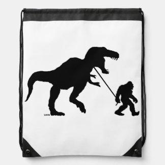 Gone Squatchin with T-rex Drawstring Bag