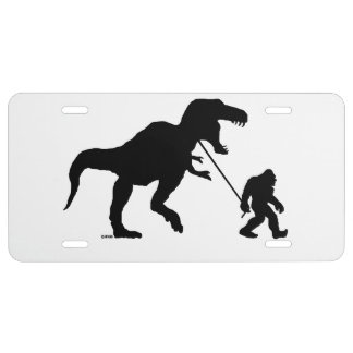 Gone Squatchin with T-rex License Plate