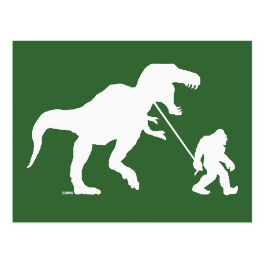 Gone Squatchin with T-rex Postcard