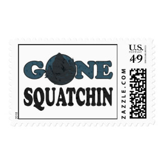 Gone Squatchin Yeti In Woods Stamp