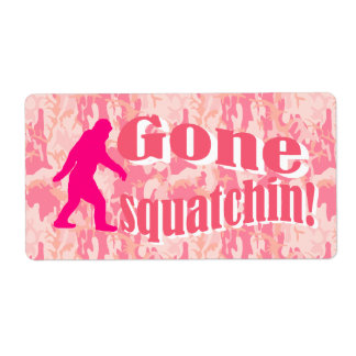Gone Squatching on pink camouflage Label