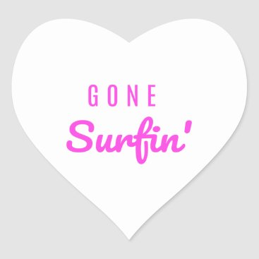 Gone Surfin' Pink Heart Sticker