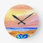 Gone Swimming Beach Ocean Surf Waves Sandals Wall Clock