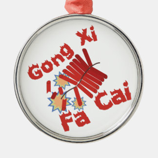 Gong Xi Fa Cai Round Metal Christmas Ornament