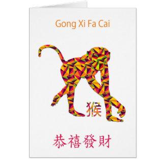 Gongo XI Fa Cai, año chino de la tarjeta del mono