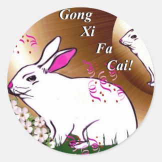 Gongo XI Fa Cai Pegatina Redonda