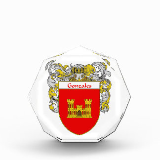 Gonzales Coat of Arms Family Crest Acrylic Award