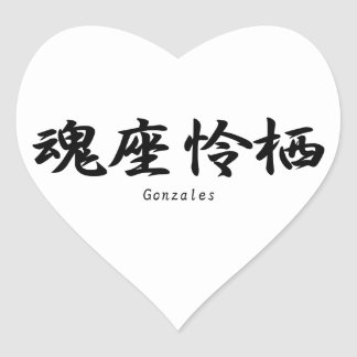 Gonzales tradujo a símbolos japoneses del kanji pegatinas de corazon personalizadas