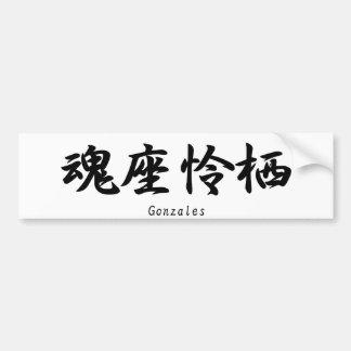 Gonzales translated into Japanese kanji symbols. Car Bumper Sticker