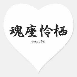 Gonzales translated into Japanese kanji symbols. Stickers