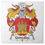 Gonzalez Family Crest Large Square Tile