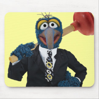 Gonzo with a Plunger Mouse Pad
