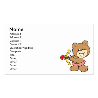 good aim winking cupid teddy bear design Double-Sided standard business cards (Pack of 100)