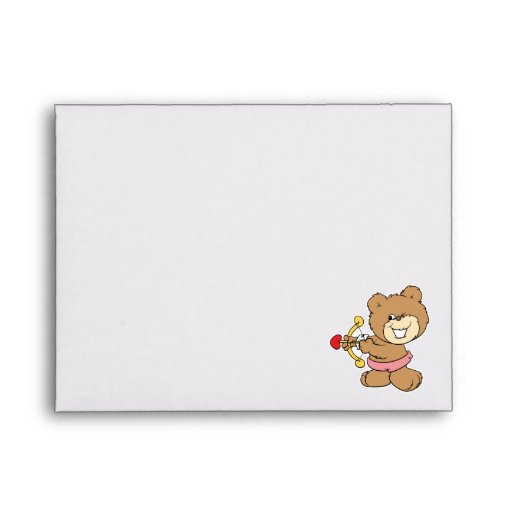 good aim winking cupid teddy bear design envelopes