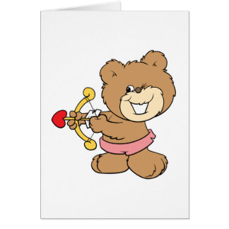 good aim winking cupid teddy bear design greeting card