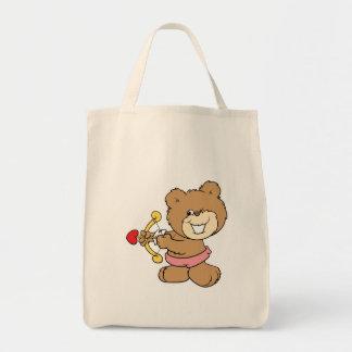 good aim winking cupid teddy bear design grocery tote bag