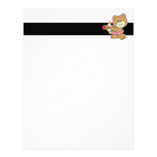 good aim winking cupid teddy bear design letterhead