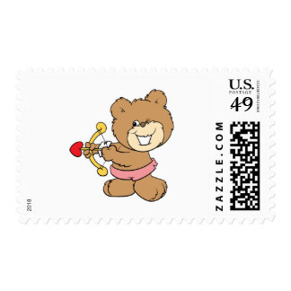 good aim winking cupid teddy bear design postage