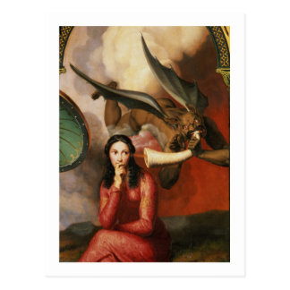 Good and Evil: the Devil Tempting a Young Woman, 1 Postcard