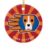 Hand shaped Good Beagle Ceramic Ornament