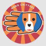 Hand shaped Good Beagle Classic Round Sticker