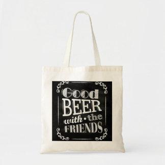 Good Beer With Friends Chalkboard Design tote bag