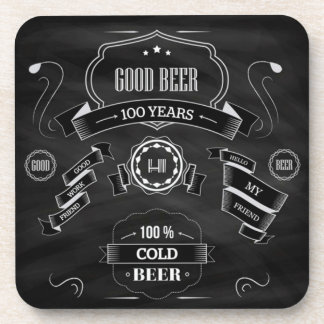Good Beer With Friends Chalkboard Drink Coasters
