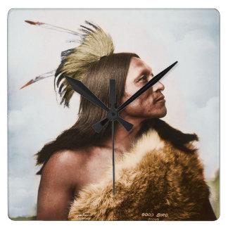 Good Bird - Lakota Sioux Warrior Square Wall Clock