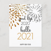 Good Bye 2020 Hello 2021 | Festive Fireworks Holiday Postcard
