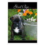 Good Bye Boxer puppy greeting card
