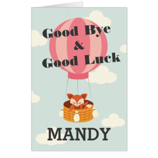 Good Bye & Good Luck Personalized Extra Large Card