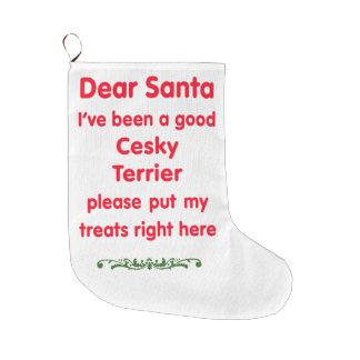 good Cesky Terrier Large Christmas Stocking