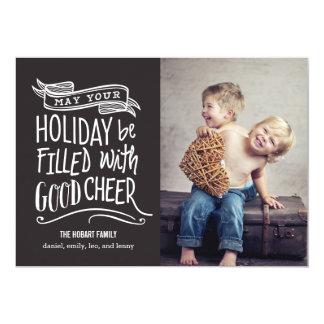 "Good Cheer Holiday Photo Card - Editable Color 5"" X 7"" Invitation Card"