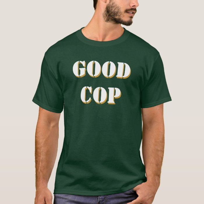 Good Cop Stencil font, front and back T-Shirt